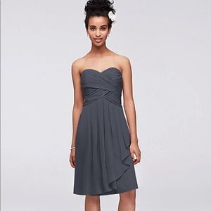 David's bridal short crinkle chiffon dress